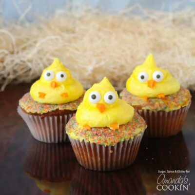 3 easter chick decorated cupcakes