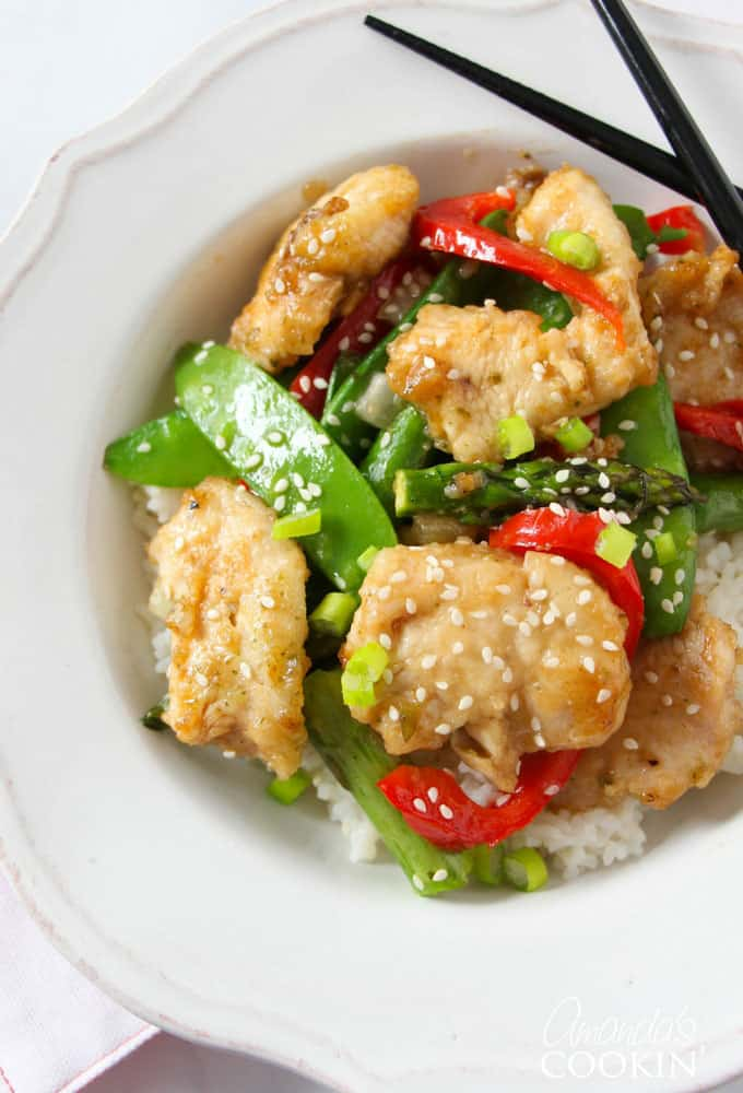 Spring Stir Fry: chicken stir fried with asparagus, snap peas & peppers