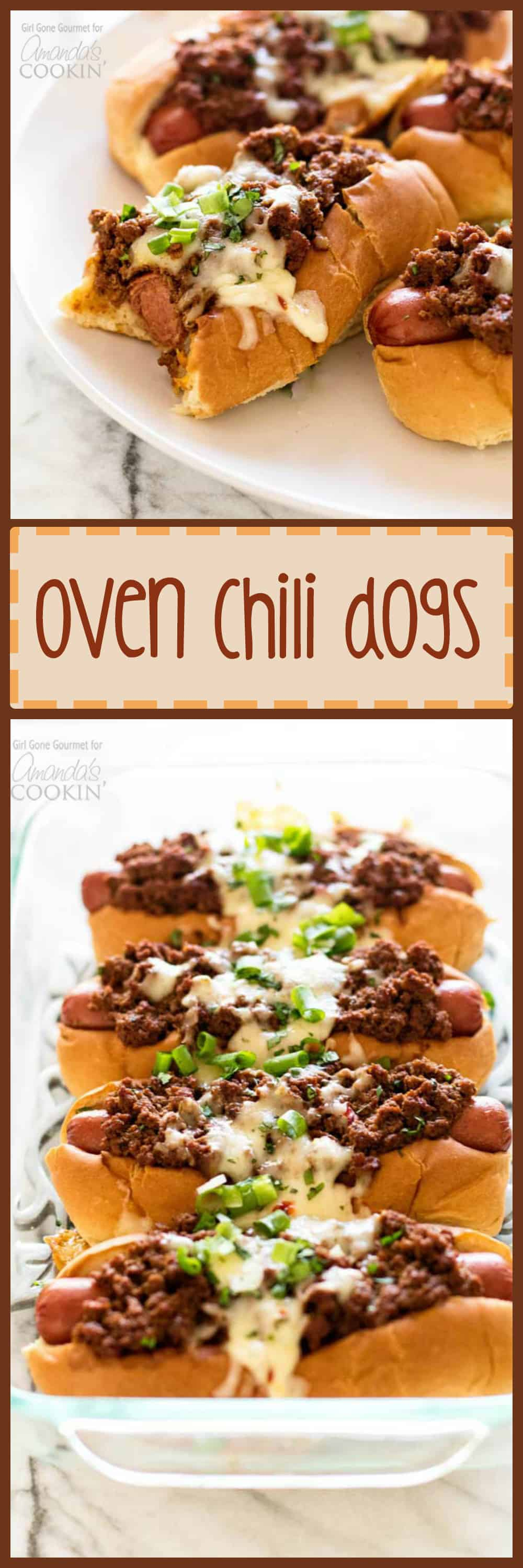 Hot dogs topped with a simple and flavorful chili, pepper jack cheese, and fresh green onions - these oven chili dogs are always a crowd favorite!