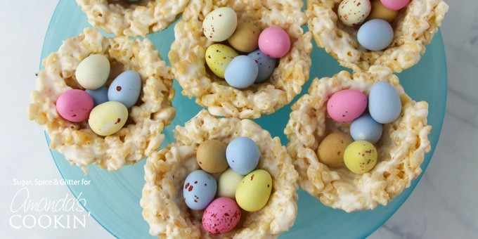 This fun and easy Easter treat combines two childhood classics - rice Krispie treats and mini eggs!