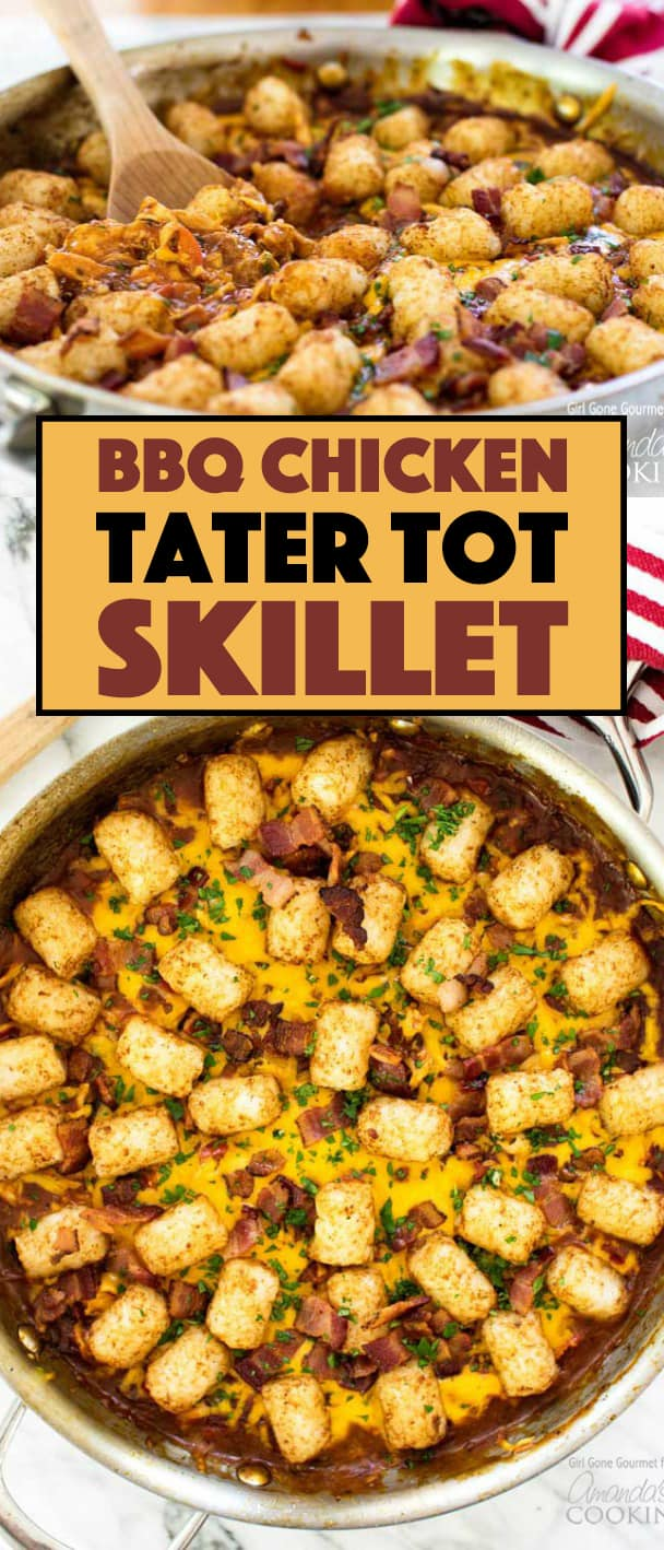 A twist on a traditional Midwestern tater tot hot dish, this BBQ Chicken Tater Tot Skillet goes from stove to oven, to the table in just one pan.