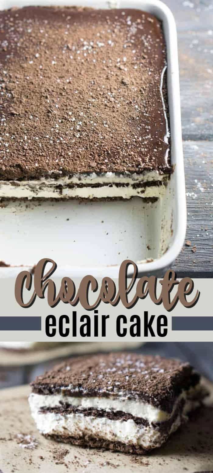 chocolate eclair cake pin image