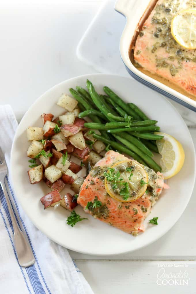 I have been making this for Dijon Lemon Caper Salmon for about 3 years now but this is the first time I've shared it online and it's my one of my husband's FAVORITE salmon recipes, perhaps even one of his all-time favorites