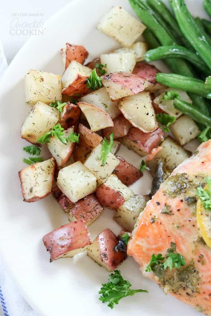 Dijon Lemon Caper Salmon with green beans and potatoes
