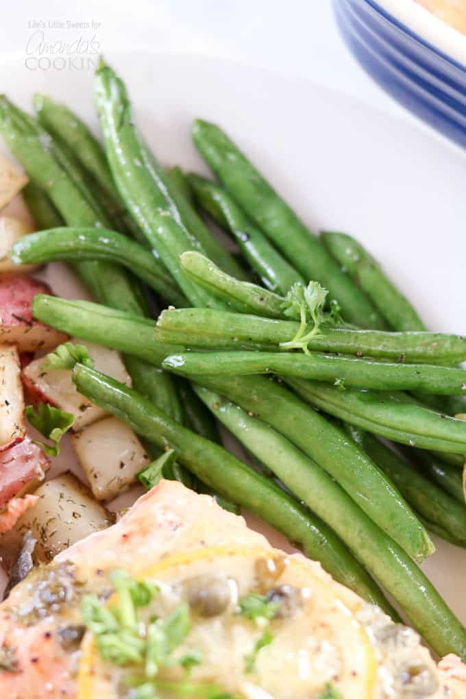 Delicious Dijon Lemon Caper Salmon served with potatoes and green beans!
