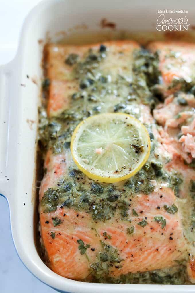 Marinading dijon lemon caper salmon