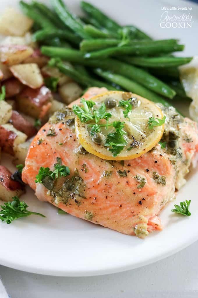 Delicious dijon lemon caper salmon