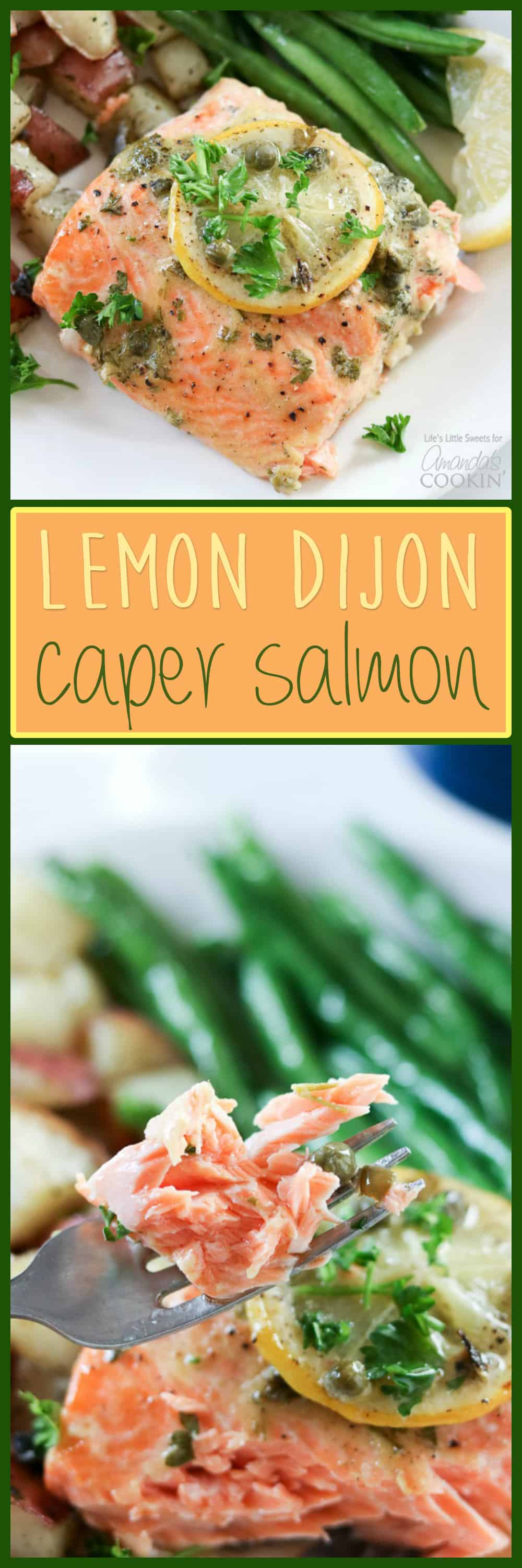 dijon lemon caper salmon with green beans and red potatoes