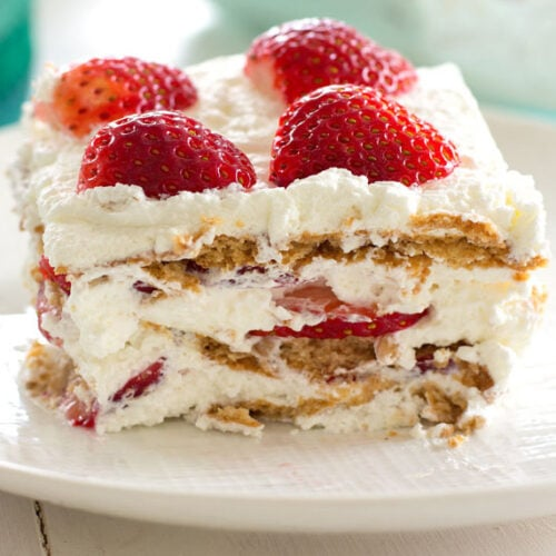 slice of strawberry icebox cake on a plate