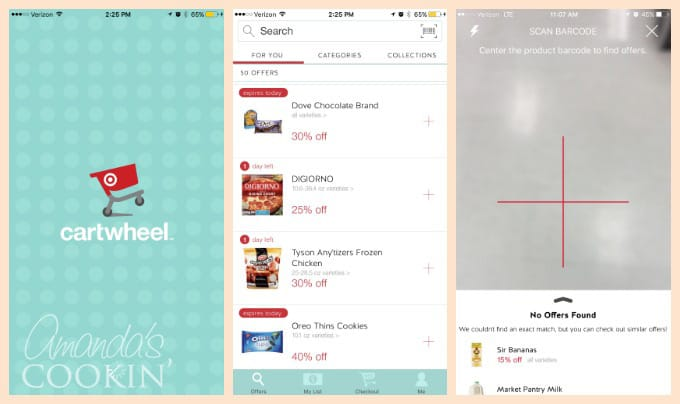 Do you shop at Target often? If you do, you really should download the free Cartwheel app. It automatically lists all the items in the store that are on sale, and you can easily scan an item to see if there's a discount available. If there isn't, it will give you alternatives that are currently offered at a discount. It's a handy money saving tool I use every time I go to Target!
