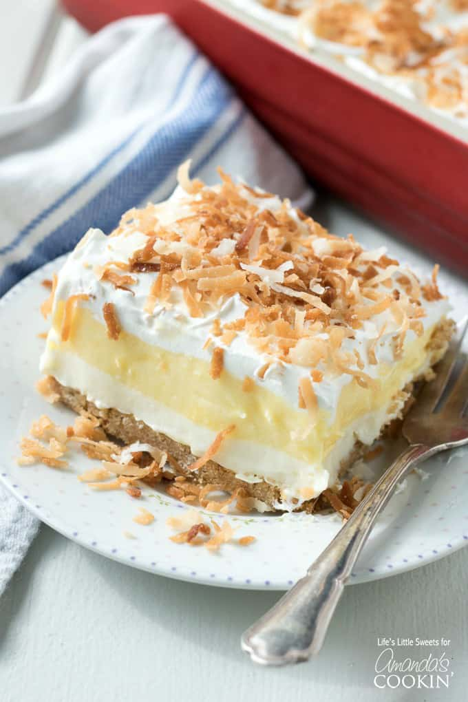 Coconut cream lush! A delicious one-pan dessert!