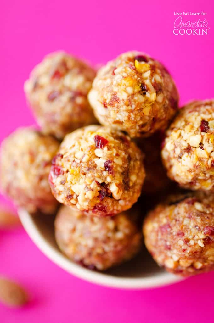 Cranberry breakfast bites- granola balls in bowl