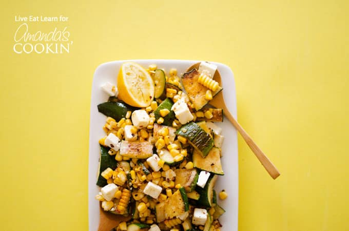 plate of corn zucchini salad