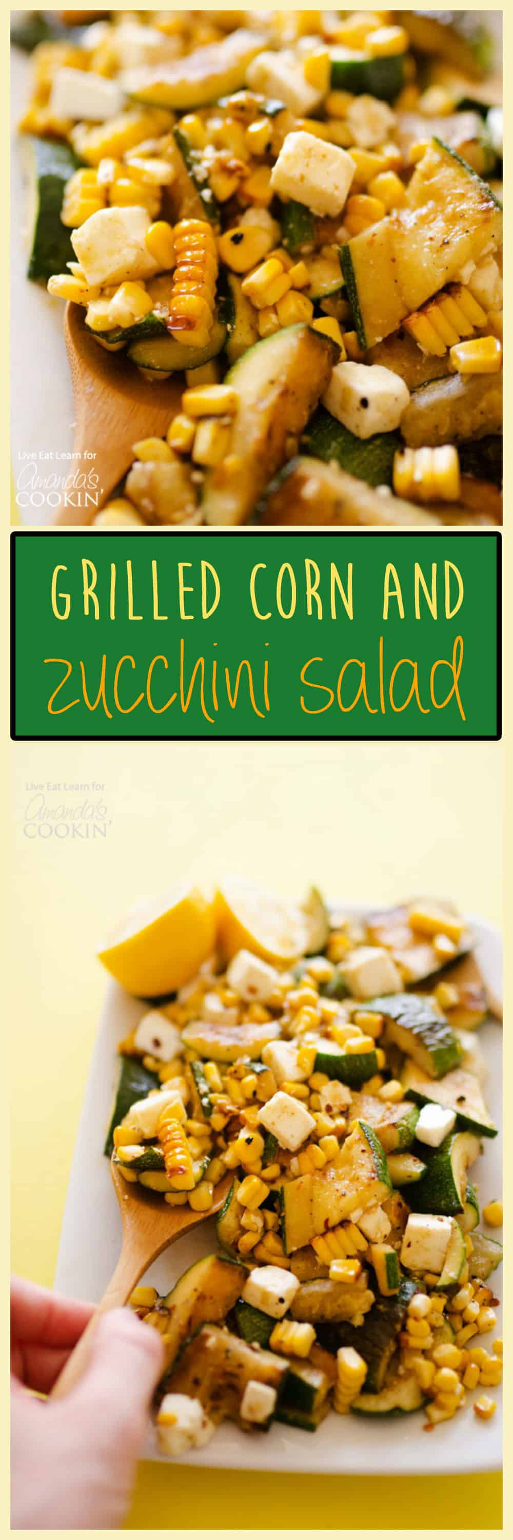This Grilled Corn & Zucchini Salad with Feta is like summer in a salad. Char-grilled summer vegetables, freshly squeezed lemon, and plenty of feta cheese!