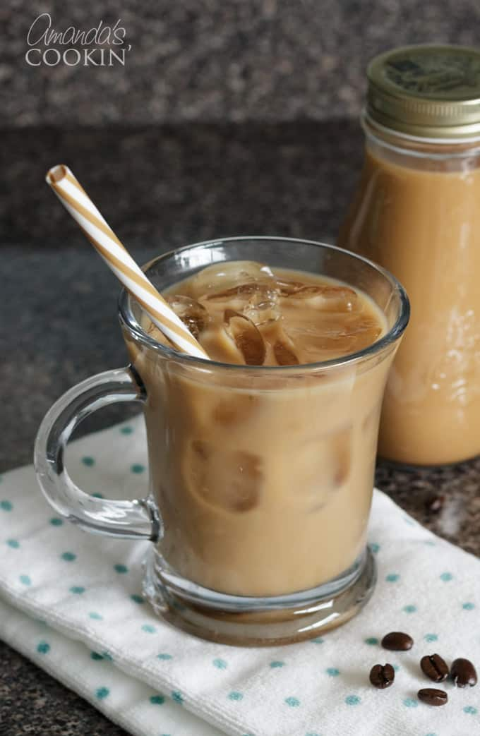 Cold brewed iced coffee in glass mug