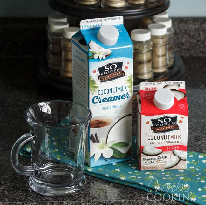 Now you are ready to add the finishing touch! I use vanilla coconut milk creamer for my iced coffee. The vanilla flavor is already slightly sweetened, so I don't need to add sugar.