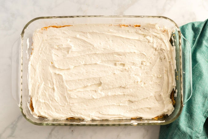 cream cheese mixture in pan