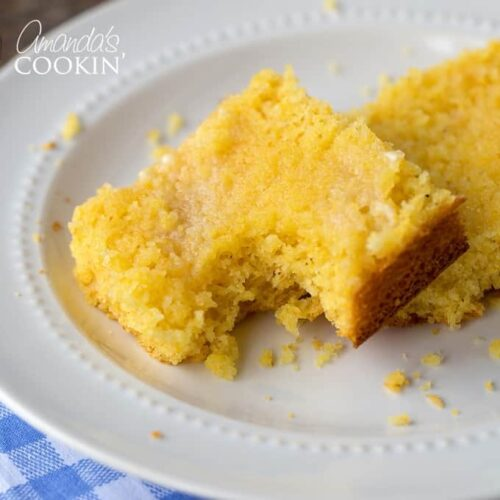 A piece of cornbread with bite out of it