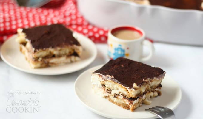 Tiramisu icebox cake with a cup of coffee