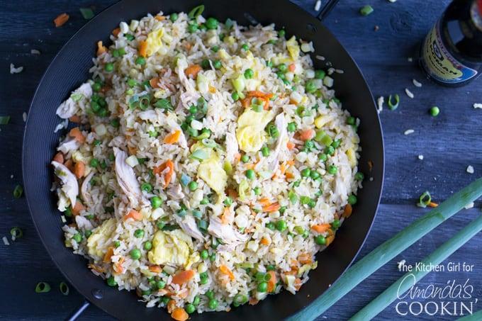 Chicken fried rice in skillet