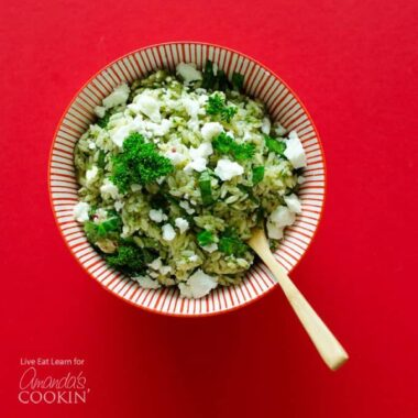 A bowl of Chimichurri and Orzo