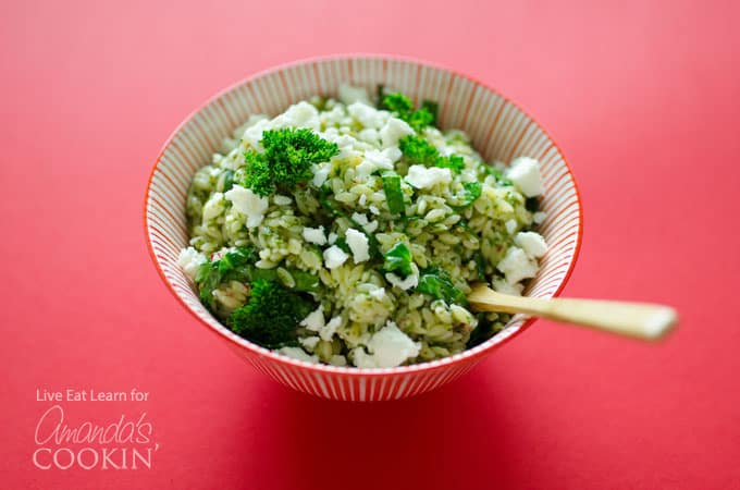 Delicious Orzo Salad with Chimichurri Sauce in less than 15 minutes!