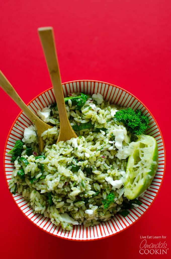 Delicious and easy Orzo Salad with Chimichurri Sauce!