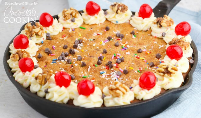 Everything but the kitchen sink chocolate chip cookie skillet!