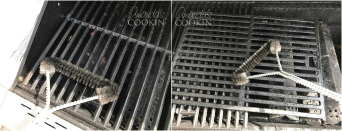 Start by using a wire grill brush to remove any crusty particles from the cooking grates and warming rack.