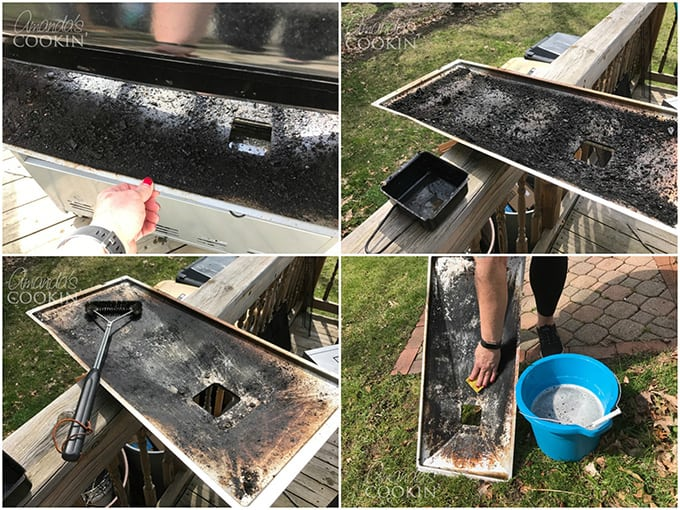 Remove the bottom grease tray from back of the grill and use wire brush to loosen particles.