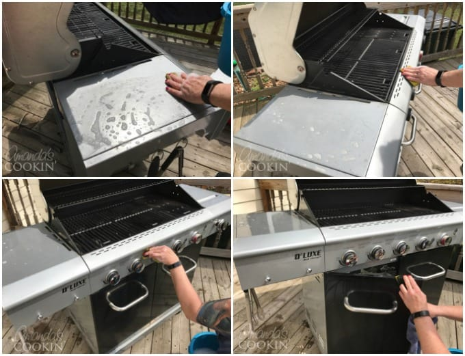 Use fresh, hot soapy water to clean the outside surfaces of the grill including the doors and lid.