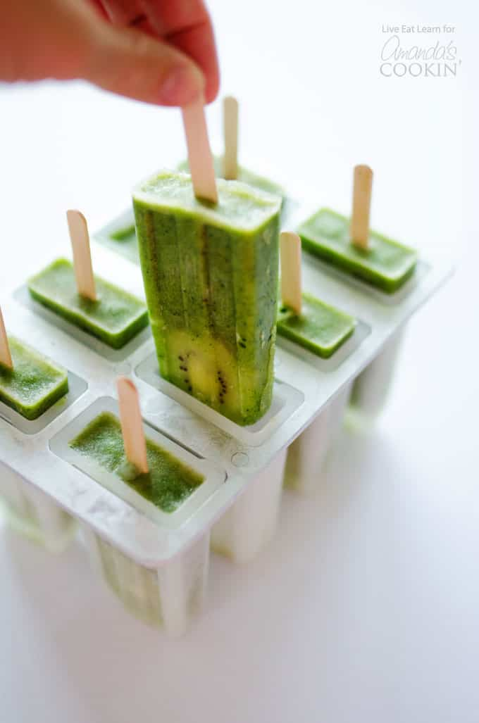 green smoothie popsicles in popsicle mold