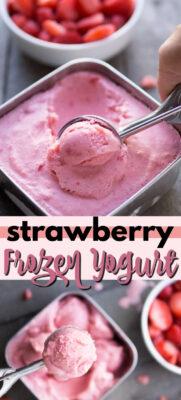 strawberry frozen yogurt pin image