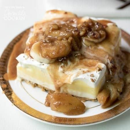 Banana Cream Lush: A rum-infused, banana-caramel sauce brings this classic banana cream lush layered dessert to a whole new level.
