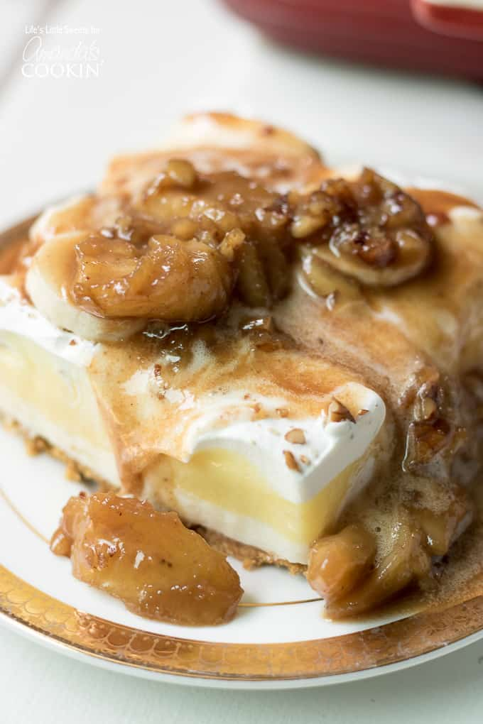 Bananas cream lush with bananas fosters sauce