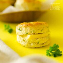 biscuit with a slice of butter in the middle