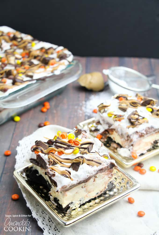 chocolate peanut butter lasagna slices