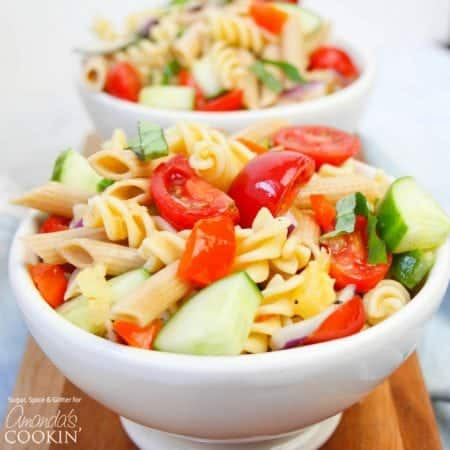 This Rainbow Pasta Salad is not only pretty, it's delicious, too. With a sweet hint of pineapple and a generous amount of vegetables, you'll want seconds!