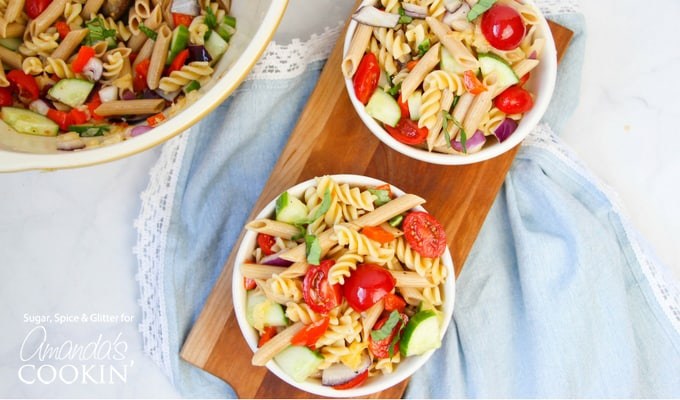 This easy rainbow pasta salad is a delicious contribution to a neighborhood potluck and a surefire bet for your own summer BBQ!