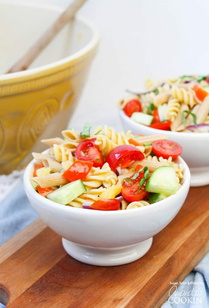 This Rainbow Pasta Salad is not only pretty, it's delicious, too!