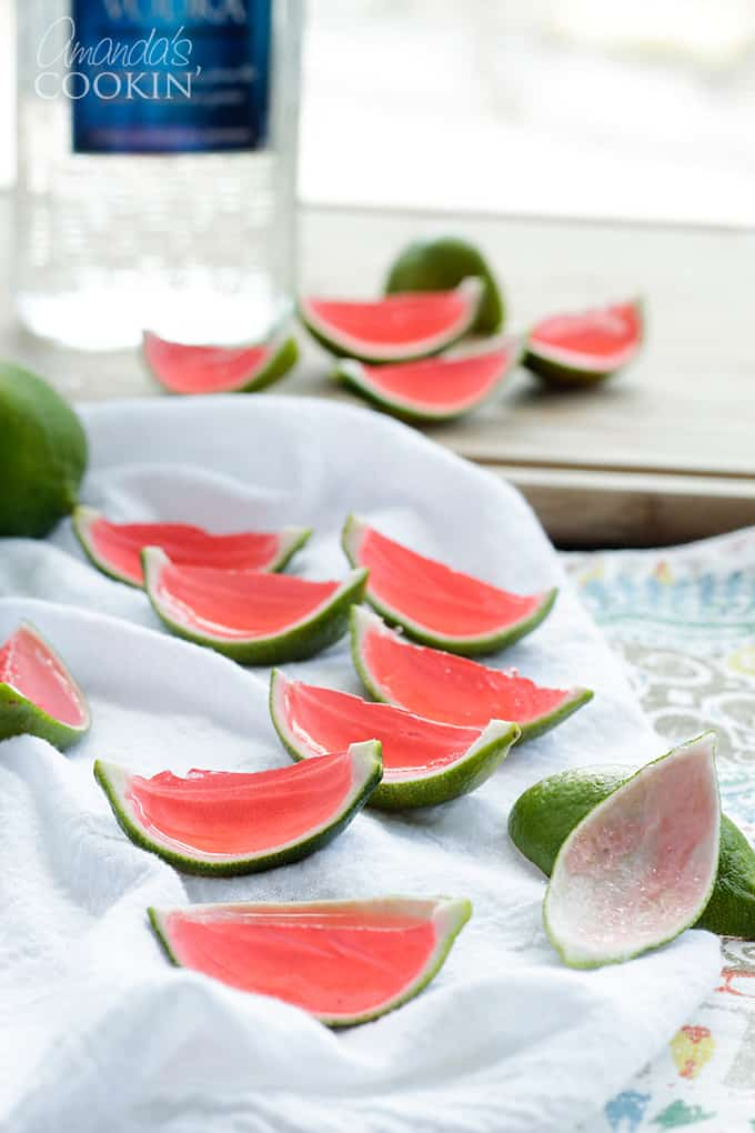 watermelon jello shots inside the rind of a lime