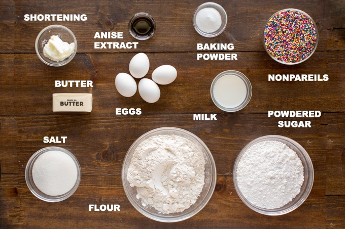 ingredients for italian anisette cookies