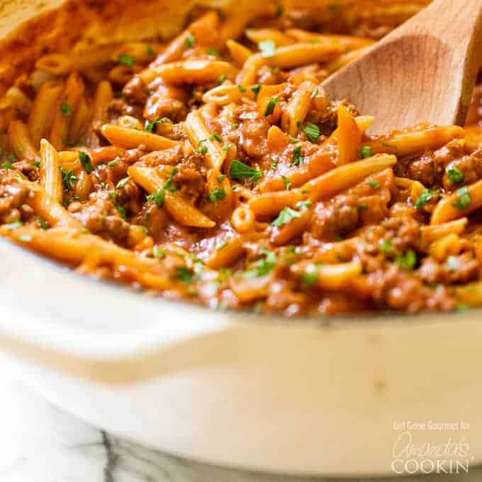 Sloppy joe pasta in pan