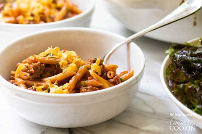 sloppy joe pasta in bowl