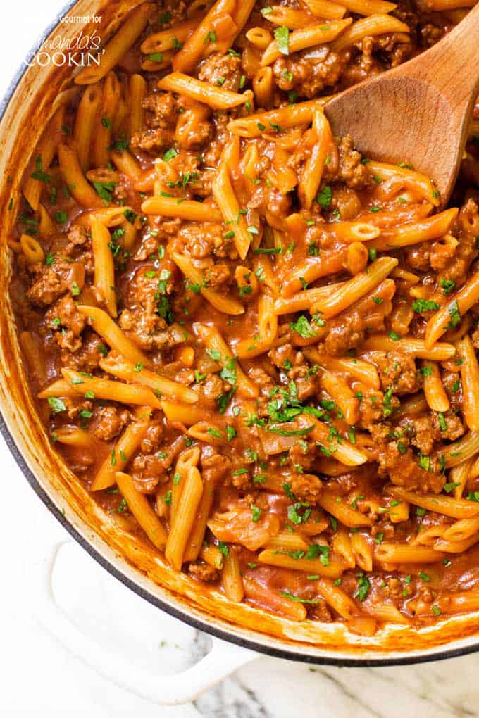 One pot sloppy joe pasta overhead shot