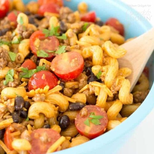 bowl of taco pasta salad