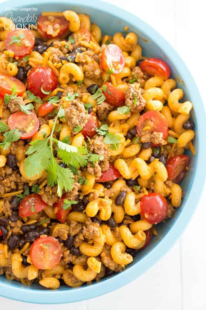 Delicious taco pasta salad recipe!