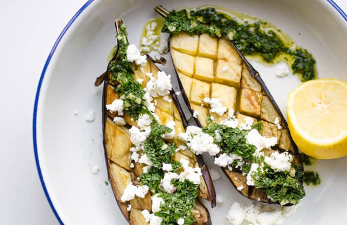 eggplant on a plate with feta cheese