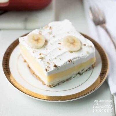banana cream layer dessert on a plate