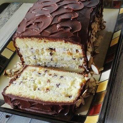 sliced cassata cake